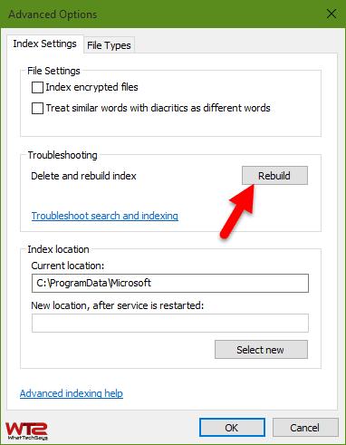 Rebuild Indexing Windows 10