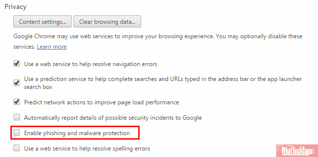 Turn Off Safe Browsing in Google Chrome