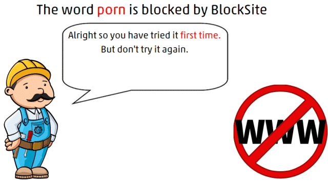 message of word block for Block Sites On Chrome