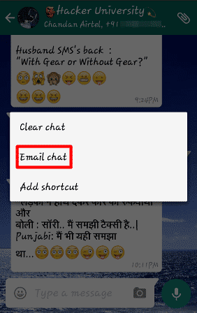 Whatsapp tricks for mail chat