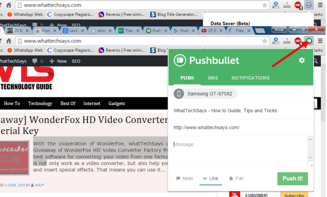 Pushbullat Google Chrome Extension