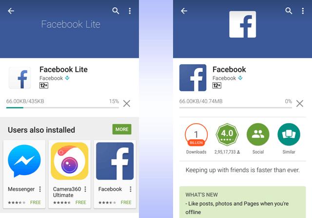 Facebook lite India