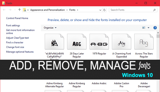 Install, Delete and Manage Fonts in Windows 10