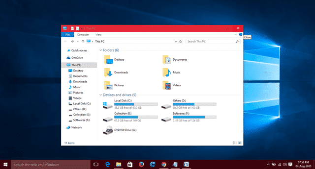 Change Windows 10 Title Bar Color
