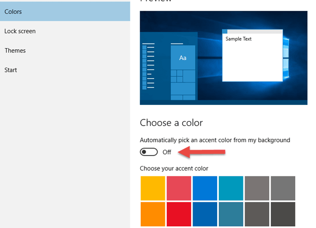 Change Windows 10 Color