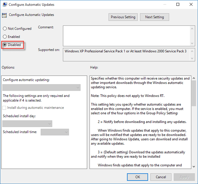 Disable Automatic Updates in Windows 10