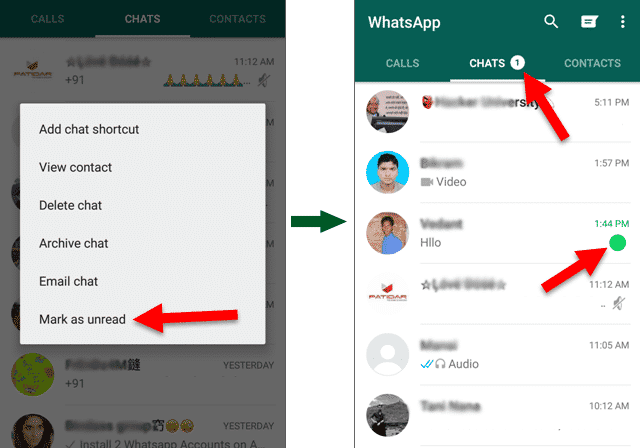 Mark Messages as Unread on Whatsapp