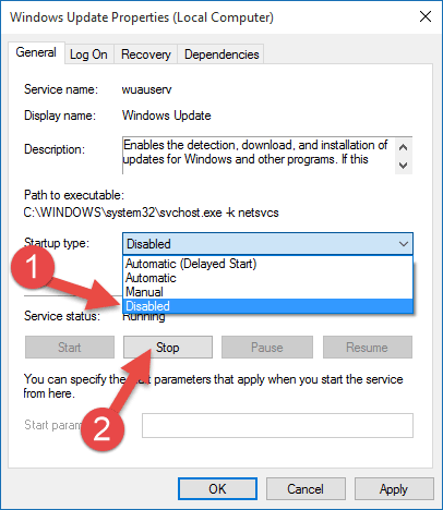 Disable Updates in Windows 10