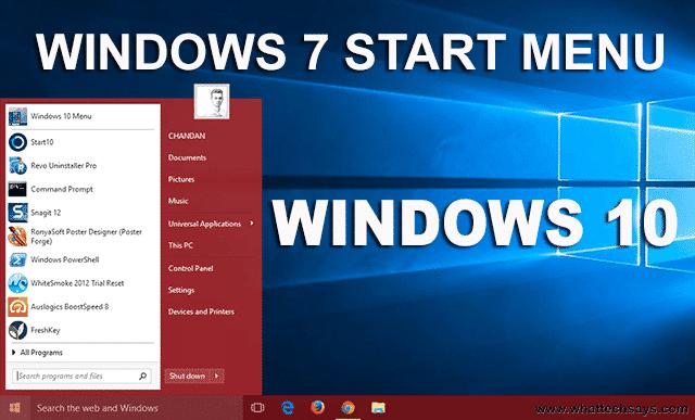 Install Windows 7 Start Menu in Windows 10