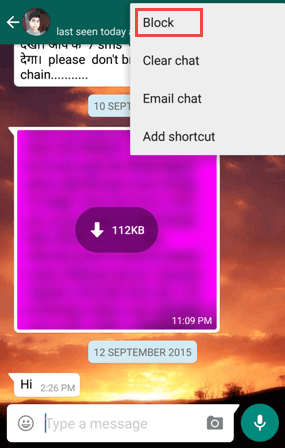 Block on Whatsapp