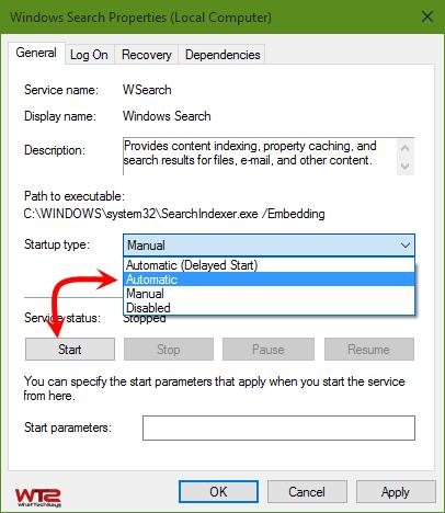 Check Windows Search Service