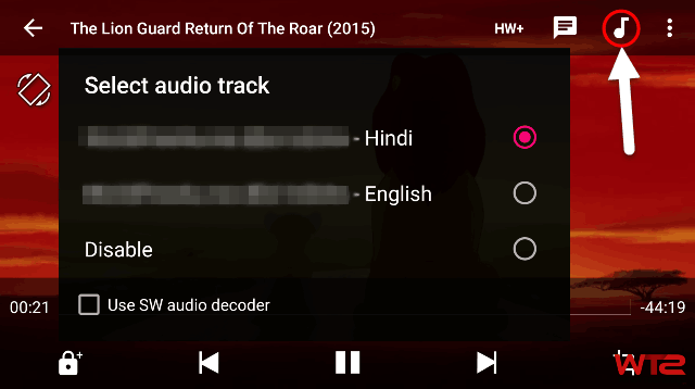 Change Audio Track in MX Player