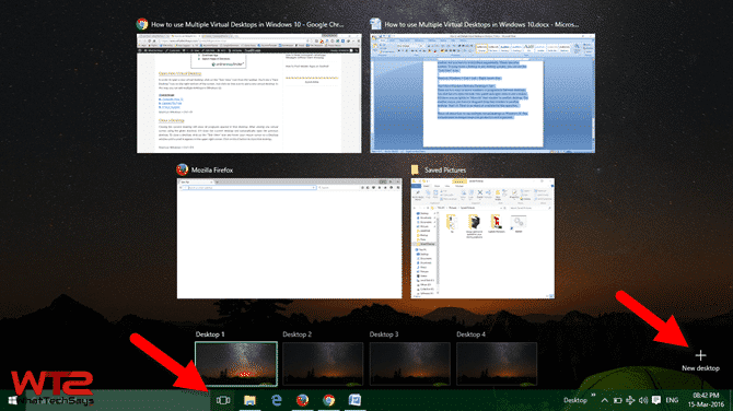 new Virtual Desktops in Windows 10