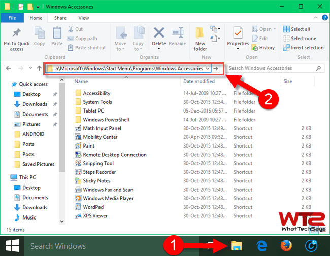 Where is Accessories in Windows 10, Find Accessories Folder