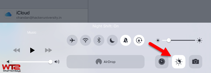 Enable Night Shift Control Center