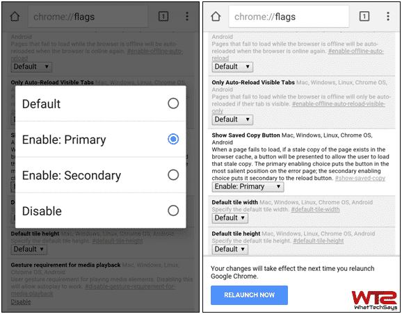 Enable Google Chrome Offline Mode in Android