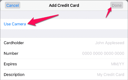 View Credit Card Information in Safari