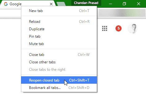 How To Open a Closed Tab in Chrome