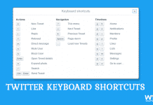 Twitter Keyboard Shortcuts List