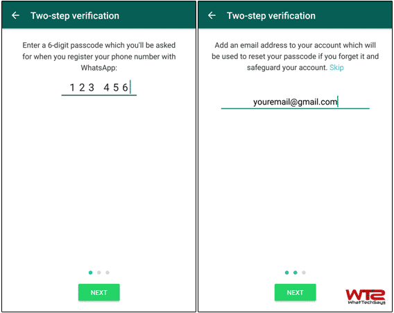 Enable Two-Step Verification on Whatsapp for Android