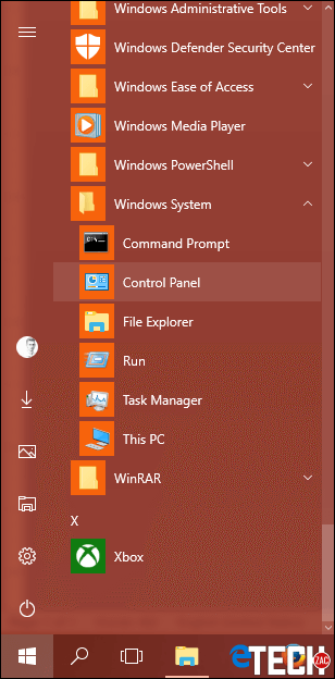 How to Access Control Panel from the Start Menu