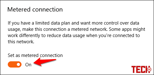Turn on metered connection to increase Internet Speed